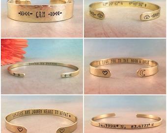 Personalized Gold Bracelet, Custom Bracelet Gold, Personalized Bracelet, Secret Message Bracelet, Custom Quote Bracelet, Red Fern Studio