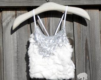 Light Up LED Silver Sequin Halter Top in Faux Fur Bra Festival Burning Man