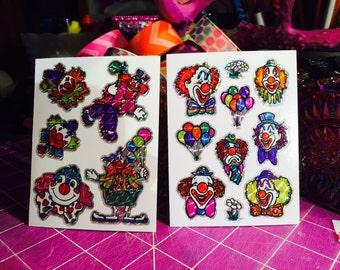 Vintage BJ Prism Clown Stickers