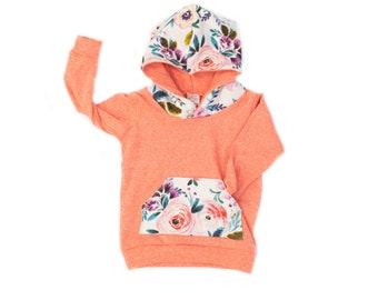 Victoria Floral Hoodie, Coral Pink French Terry Hoodie, Baby Pink Hoodie, Spring Floral Sweatshirt, Purple Floral Baby/Toddler Girl Hoodie