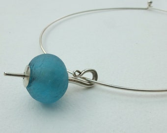 Maloy turquoise African recycled bottle glass bead necklet