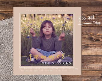 Photography Summer Mini Session Template for Photographers 5x5, Gold