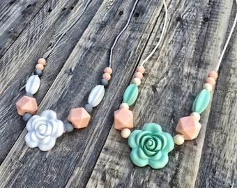 Silicone Beads Teething Necklace / Nursing Necklace Toy for Mom and Baby Shower Gift - Rose
