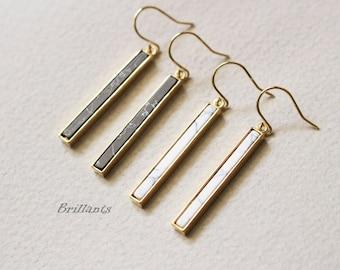 Howlite Stone Bar earrings, Skinny Vertical Bar, White stone, Black Stone, marble stone,  Wedding earrings, Bridesmaid earrings