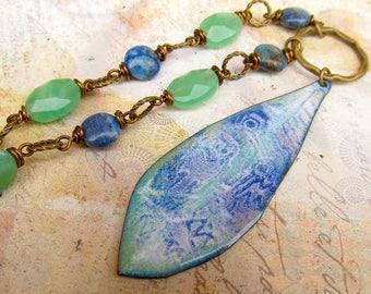 Inspirational necklace Bohemian jewelry Long necklace Boho necklace Leaf Pendant Enamel Statement Necklace Mint Blue Owl Enamel Jewelry