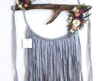Pale Slate Blue Branch Dreamcatcher with Dried Flowers