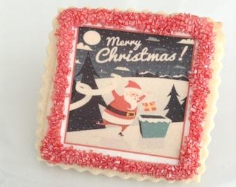 Custom cookies party favor Christmas cookies Santa--1 Dozen