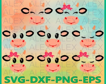 70% OFF, Cow Svg Files, Cow face svg, Dxf, Ai, Eps, Png, Farm svg, Animal svg, Instant Download, Cow Eyelashes SVG, Silhouette Studio