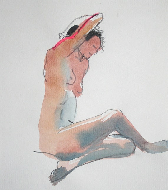 Nude painting- #928- original watercolor painting by Gretchen Kelly