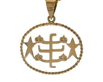 Baha'i Ringstone Faith Symbol Pendant 18K Yellow Gold