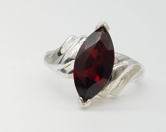 Vintage 3 Carat Marquise-Cut Red Garnet & Sterling Silver Ring - Size 7
