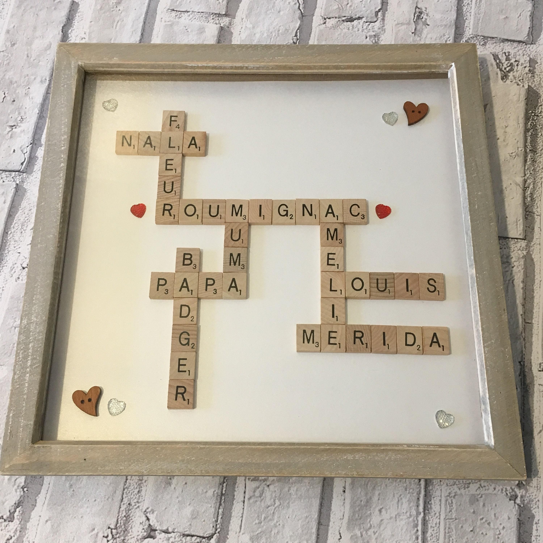 Familie Scrabble-Kunst-Rahmen Familiennamen Rahmen