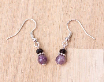 Small Amethyst earrings - purple gemstones with black glass beads | Tiny dangle earrings | Amethyst jewellery | Purple stone boho jewelry