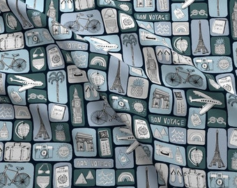 Travel Fabric - Vacation Destinations Fabric By Andrea Lauren - Travel Paris Blue Summer Vacation Cotton Fabric By The Yard With Spoonflower