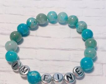 Custom Blue and Green Jasper Bracelet