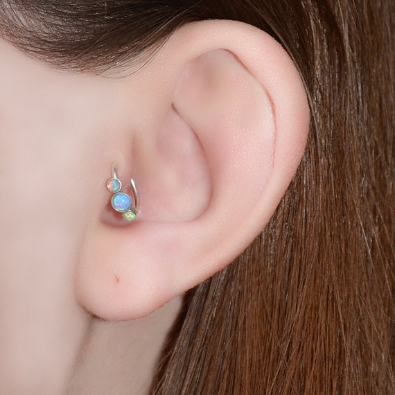 Blue Opal Tragus Earring - Silver Nose Ring - Rook Earring - Cartilage Hoop - Forward Helix Earring - Septum Ring - Tragus Piercing 16 gauge