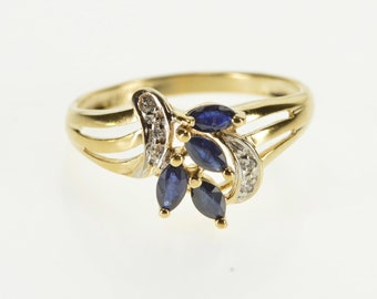 10K Marquise Sapphire Diamond Accented Freeform Ring Size 7 Yellow Gold