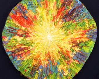 Letting the Light Shine Through encaustic painting on cedar wood round slice