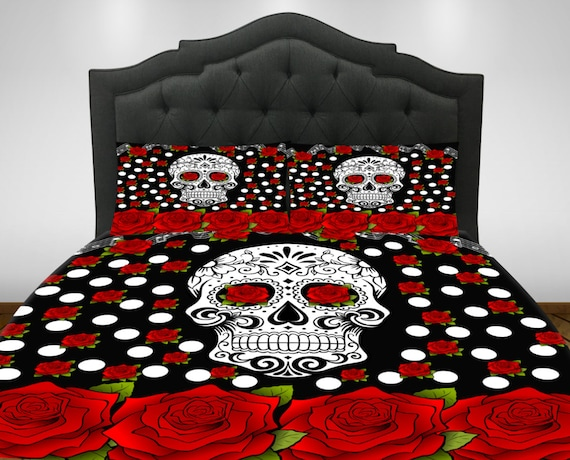Items Similar To Sugar Skull Comforter Set- Duvet Cover