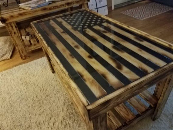 American Flag Coffee Table With Metal Inlay