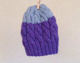 CLEARANCE | FINAL SALE | Hand knit Beanie, Purple and Light grey, Warm Toque, Wool Hat, Winter Women Pom-Pom Hat