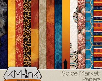 "Travel Digital Paper Pack - Turkey/Middle East - Patterned Scrapbook Paper in red, gold, blue ""Spice Market"" printable paper"