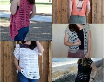 Crochet PATTERN BUNDLE - Crochet Top Pattern - Summer Crochet Pattern - Crochet Cardigan Pattern - Crochet Vest Pattern