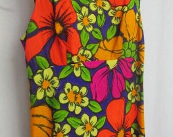 Barkcloth Hawaiian Dress Ti'a Hawaii Dress Empire Waist Neon Floral Dress Backless