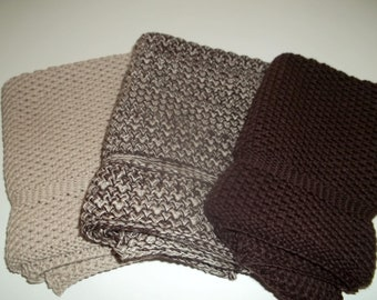 Dishcloths Knit in Cotton in Brown and Sidewalk, Dish Cloth, Wash Cloth, Kitchen