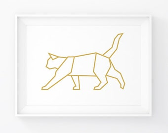 Gold Cat, Geometric Cat, Cat Art, Cat Printable, Cat Print, Cat Decor, Gold Animals, Gold Geometric, Cat Poster, Origami Cat, Cat Decal