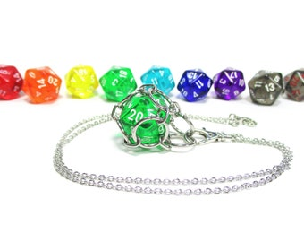 Removable Translucent d20 Necklace - Choice of Colors - Stainless Steel Chainmaille