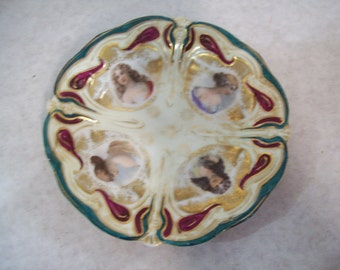 """JPF Germany 1903-1938 Decorative Painted Ladies 6"""" Plate"""