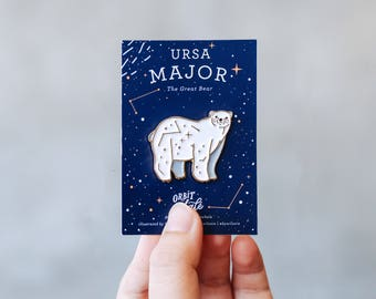 Ursa Major: The Great Bear, Polar Bear Constellation Enamel Pin