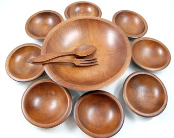 Vintage Woodcrafters Footed Serving Bowl with 8 Individual Bowls