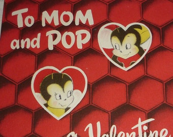 Vintage 1950s NORCROSS Valentine To Mom and Pop Anthropomorphic Bees