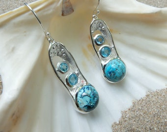 Chatokite and Blue topaz 925 sterling silver earring made in Canada
