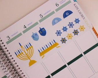 Hanukkah Planner Stickers for Erin Condren Life Planner, Happy Planner, Filofax, kikki.K, Plum Paper Planner Stickers
