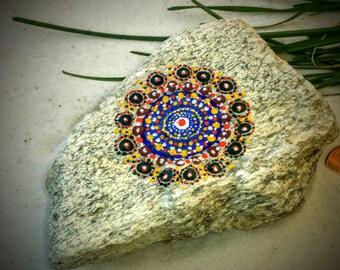 Mandala Stone, Hand Painted Rock, Handmade, Dot Painting, Multi Color, Home and Indoor Garden Decor Rock, Rustic, Zen, Meditative Art
