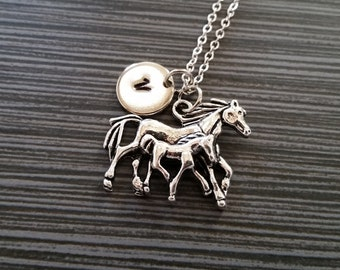 Silver Mommy and Baby Horse Necklace - New Mom Necklace - Personalized Necklace - Custom Gift - Initial Necklace - Mother Gift