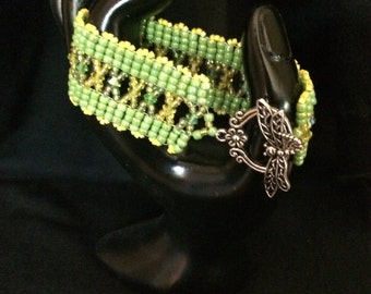 No 42 hand woven glass and crystal bracelet