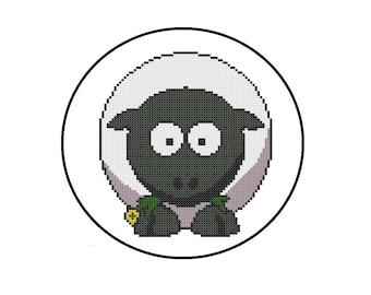 Counted Cross Stitch Pattern, Sheep Cross-Stitch Pattern PDF, Barnyard Farm Animals Nursery Decor