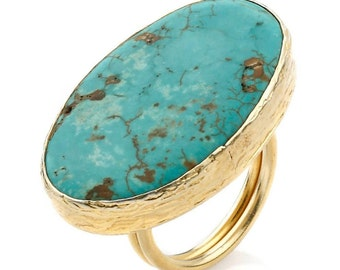 Turquoise Ring, made with sterling silver coated gold, very big turquoise stone ring, blue turquoise ring, boho turquoise ring, statement