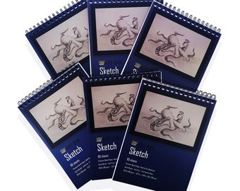 6 Pack Art Ink Sketch Book, 480 Sheets, 8.3 in. x 11.7 in., 68 lbs. - 100 g/m2