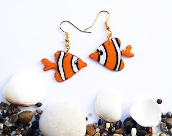 Orange striped Fish earrings, Sea fish, Nemo, Handmade Orange Clownfish, Animal Earrings, Girls earrings, Fish Dangle Bright Orange earrings