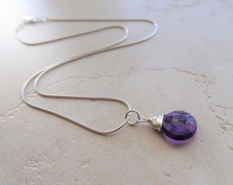 Faceted Amethyst Briolette Pendant, Wire Wrapped, Sterling Silver, Amethyst Necklace, Amethyst Jewelry, February Birthstone