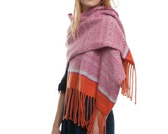 Blanket wrap, Knitted shawl, Fringed Scarf, wool wrap, Blanket scarf, pink shawl, womens shawl, oversized scarf, knitted shawl, wool shawl
