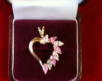 14 K Yellow Gold Heart Charm With 4 Pink Tourmaline, 4 CZs. All Marque Shape. 3.2 Gm. Free Shipping.