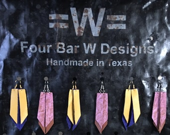 Leather Double Point Earrings