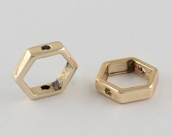 25 Gold Tone Hexagon Bead Frames 11x13x3mm (B55a)