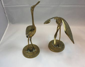 Vintage Brass Pair of Whooping Cranes or Herons